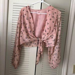 Showpo. Tops - Showpo pink long sleeve crop top